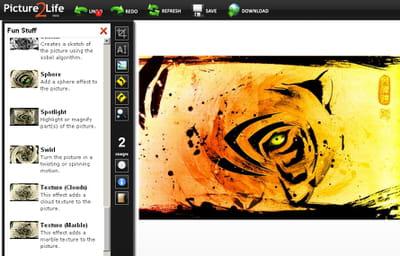 la site propose des dizaines d'effets à appliquer en un clic sur votre photo