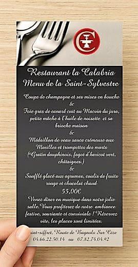 Restaurant : La Calabria  - Menu Saint-Sylvestre 2018 -   © 0
