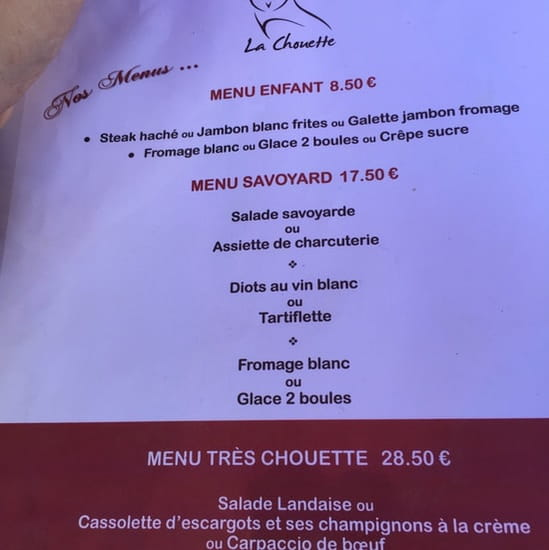 Restaurant : La chouette  - Carte -