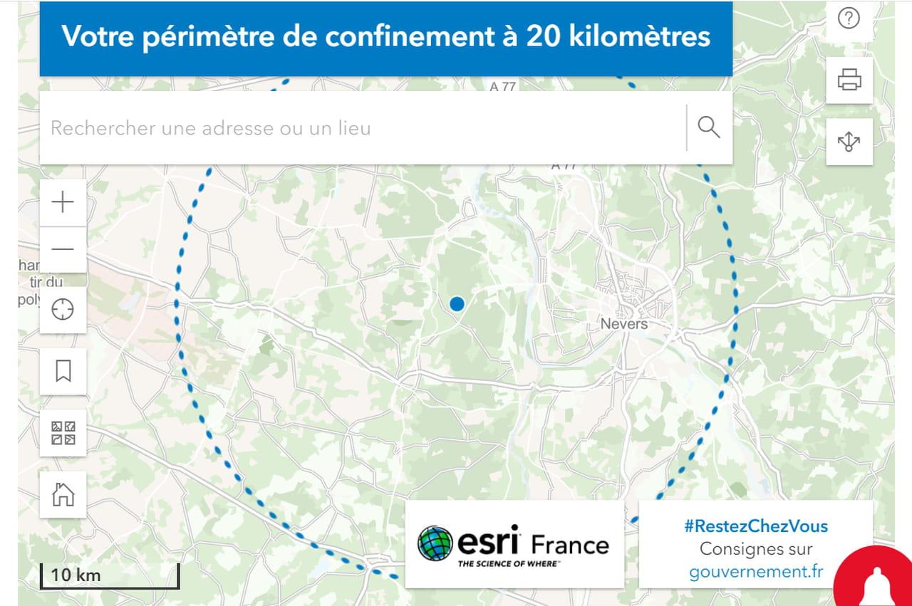 Rayon de 20km autour de chez moi: carte, outils pour calculer... Comment ne pas dépasser?