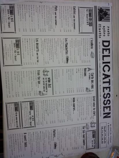 Delicatessen  - Le menu set de table -   © M.Prouteau