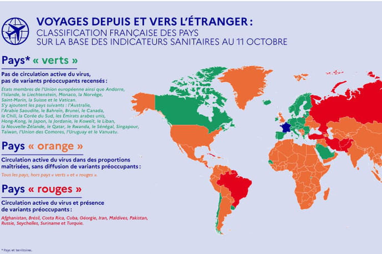 Voyage et Covid: pays verts, orange et rouges, nouvelle carte actualisée en octobre et infos
