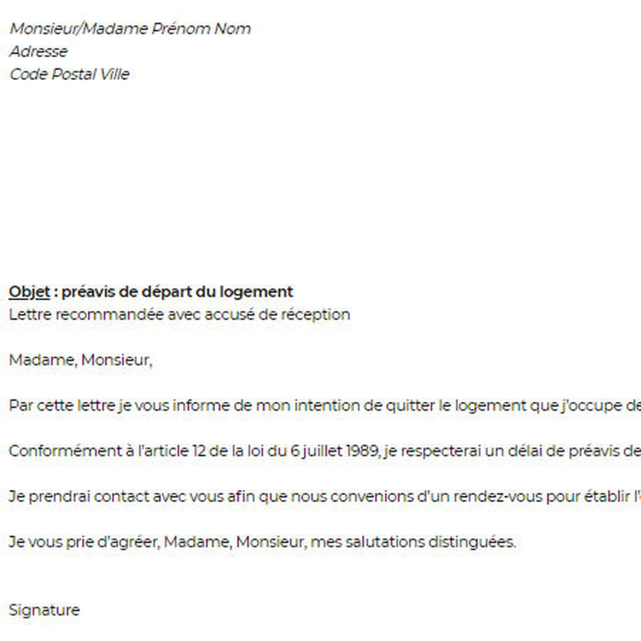 exemples de mod u00e8les  lettre de conge appartement