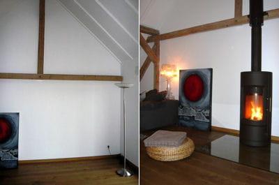 le séjour avant et après l'installation du poêle à bois.