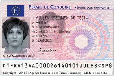 permis de conduire image recto