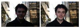 a gauche : en situation de contre jour, sans flash. a droite : avec le flash, la