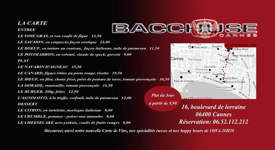 Bacchouse Restaurant Franco-Russe  - La carte du restaurant -   © Bacchouse Cannes