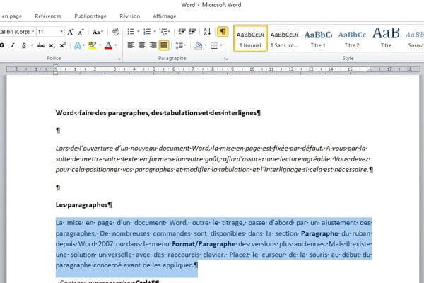 comment faire des paragraphes  tabulations et interlignes dans word