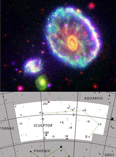 au-dessus : photo de la galaxie de 'la roue du chariot' partie du sculpteur.