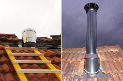 Montage du conduit ext rieur - Comment monter des tuiles sur un toit ...