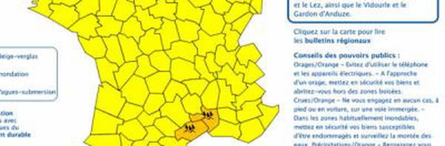 Alerte météo : les départements concernés par l'alerte pluie-inondation