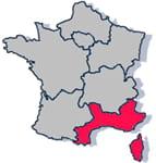 les départements de la région méditerranée : 04, 05, 06, 11, 13, 20, 30, 34, 48,