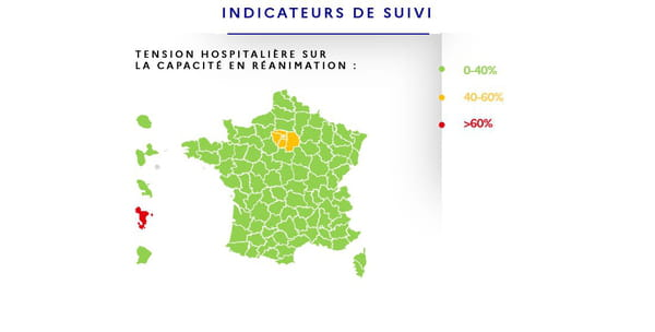 Carte du déconfinement : taux d'occupation en réanimation.