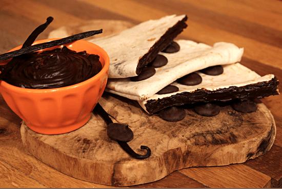 Dessert : Tex A Way  - Tortilla garnie d'une préparation chocolatée maison -   © #TEXAWAYOFLIFE