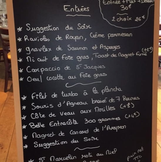 Restaurant : La bonne chaise  - Menu carte -