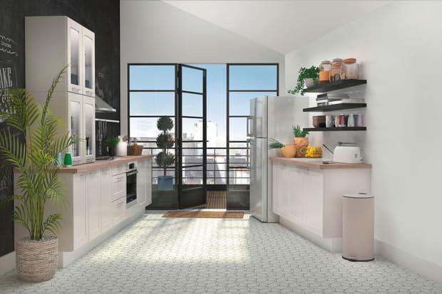 une cuisine ouverte avec tag res. Black Bedroom Furniture Sets. Home Design Ideas