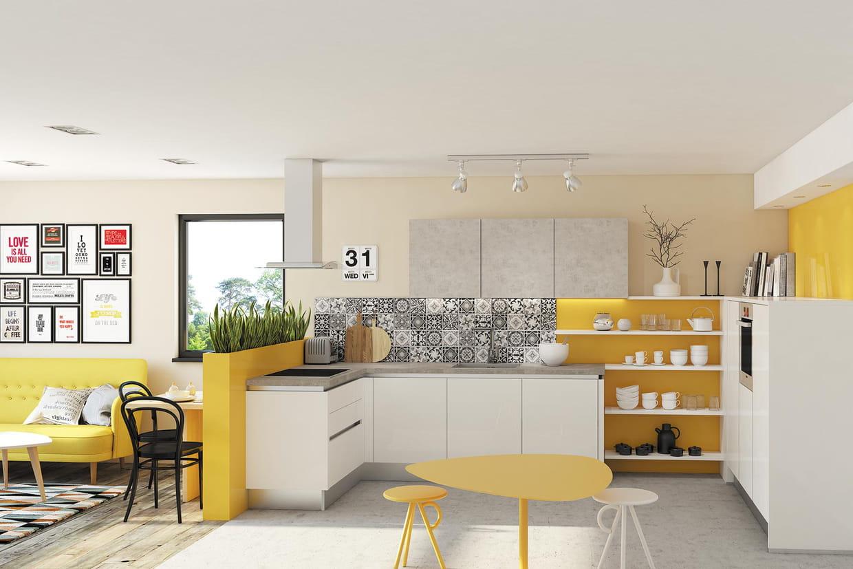 associer le jaune vif aux carreaux de ciment. Black Bedroom Furniture Sets. Home Design Ideas