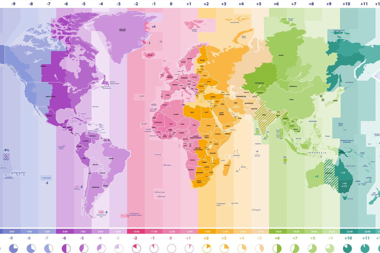 Décalage horaire: carte des 24fuseaux horaires et calcul du décalage par ville et pays