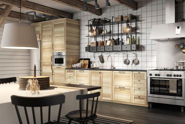 une cuisine conviviale style scandinave. Black Bedroom Furniture Sets. Home Design Ideas