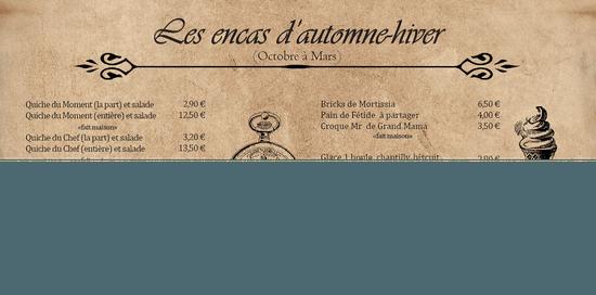 Restaurant : Le Mortissia  - Carte des encas Automnes -hiver -   © Le Mortissia