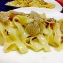 Plat : Fellini  - Suggestion de saison : tagliatelle maison - pâtes fraîches faite sur place - à la truffe blanche d'Alba. -