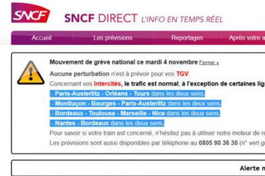SNCF: grève etprévisions detrafic du4novembre
