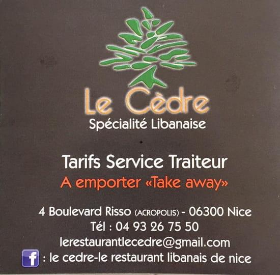 Restaurant : Le Cèdre  - carte special a emporter -   © restaurant le cedre a nice