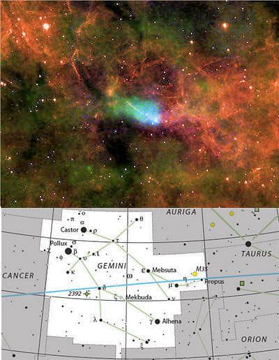 au-dessus : étoile à neutron présente dans la supernova ic 443 qui appartient à