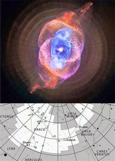 au-dessus : la constellation du dragon englobe cette célèbre nébuleuse de l'œil