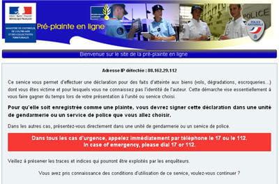 copie d'écran du site en lignepre-plainte-en-ligne.gouv.fr