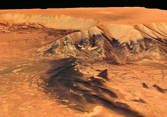 Vue en perspective de Melas Chasma