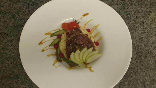 Plat : O'Délice  - Le foie gras chaud risotto aux pommes -