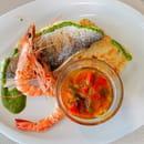 D2  - Filet de dorade et gambas à la planche, pesto de roquette et tomattes confites -   © d2 restaurant Montpellier Millénaire