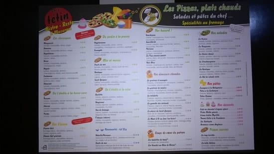 Cybierepizza chez Tetin  - carte des plats -