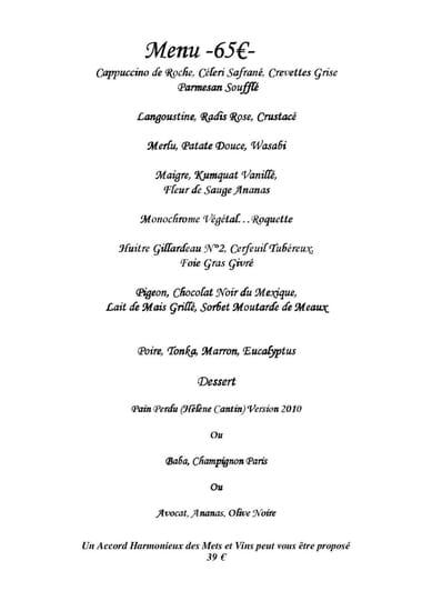 Le Ventre de l'Architecte  - le menu du soir 2 -   © alban