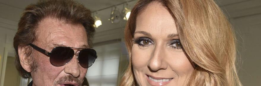 Quand Johnny Hallyday embrasse Céline Dion à la Fashion Week de Paris