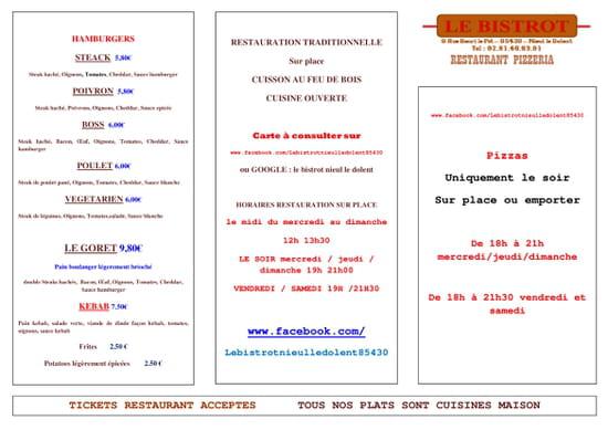 Restaurant : Le Bistrot  - hamburgers -   © le bistrot