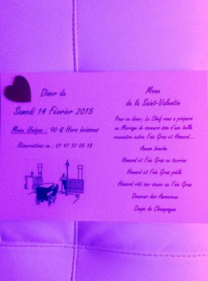 La Barriere de Clichy  - Menu de la Saint-Valentin 2015 -   © La Barrière de Clichy
