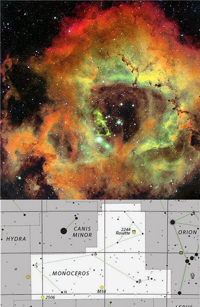 au-dessus : photo de la nébuleuse rosette membre de la constellation de la