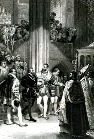 Gravure de François Ier et Charles Quint