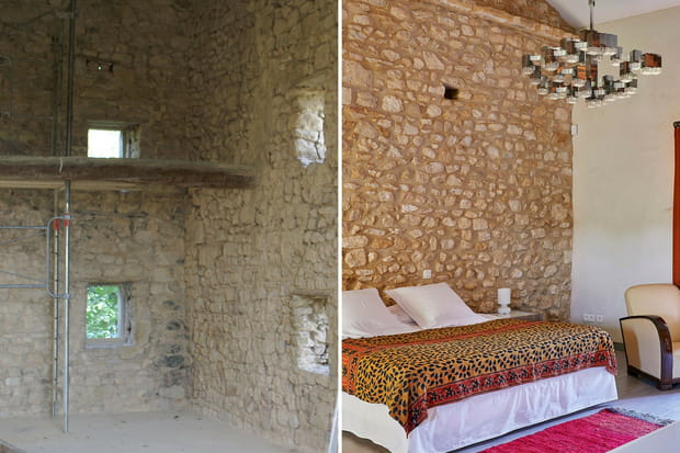 la chambre odyss e et son mur en pierre. Black Bedroom Furniture Sets. Home Design Ideas