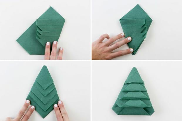 Pliage de serviette sapin de Noël : étapes 5 à 8