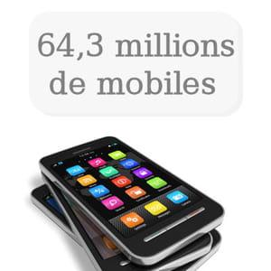 il y a 64,5 millions de téléphones portables en france.