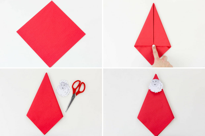 Pliage de serviette p re no l tapes 1 4 - Pliage de serviette en papier noel ...