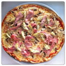 Plat : Pizza Latina  - 4 SAISONS: Tomate, Cantal, Champignons, Jambon, Artichauts, Origan -