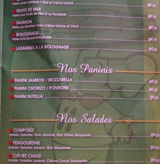 Restaurant : Trattoria Pizza  - La carte des salades et des pâtes.  -
