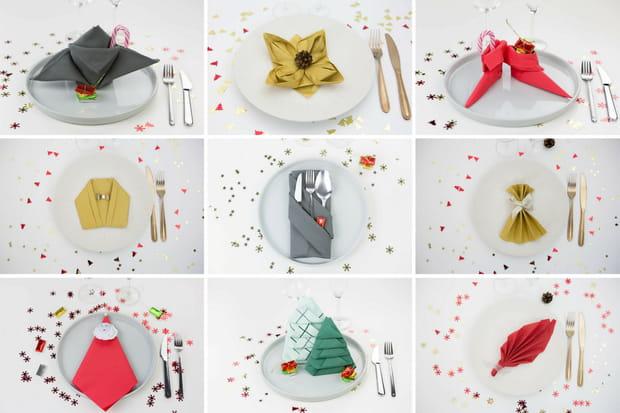 9pliages de serviettes (faciles) pour votre table de Noël