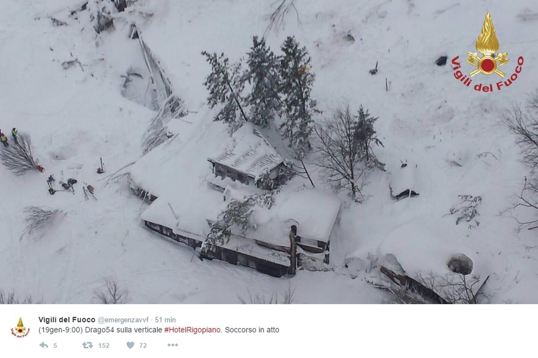 Un hôtel frappé par une avalanche, de nombreux morts — Drame en Italie