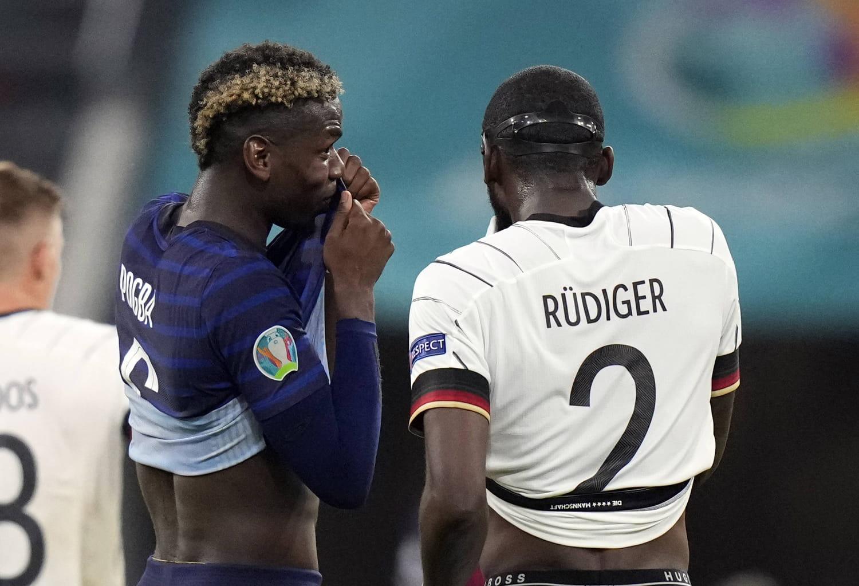 """France-Allemagne: """"Il m'a un peu mordu"""", Pogba raconte la scène avec Rüdiger"""