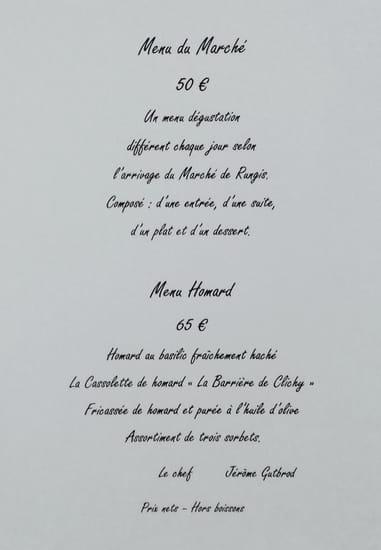La Barriere de Clichy  - Menu du Marché et Menu Homard -   © La Barrière de Clichy